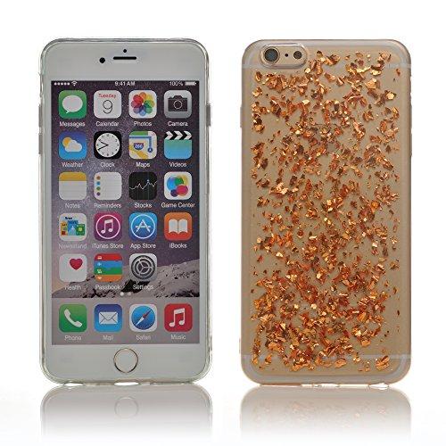 "iProtect Apple iPhone 6 Plus (5,5"") biegsame TPU Soft Case Hülle Glitzer Pailletten Design in Rosegold IP6+ Design Rosegold"