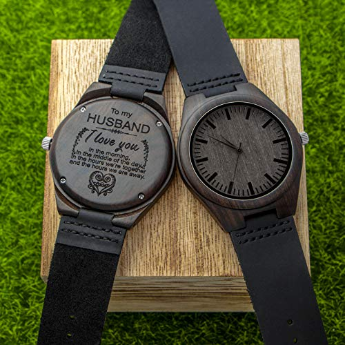 Engraved Wooden Watch for Men,Natural Wooden Groomsmen Watch for Husband Son Natural Ebony Customized Wood Watch Birthday Anniversary Gift(for Husband)
