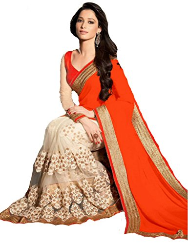 Koroshni sarees for Women Embroidered Orange And Beige Half And Half Georgette Saree With Blouse Material  available at amazon for Rs.399