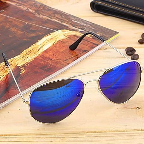 Marco plateado + azul lente de plata unisex mujeres hombres vintage retro Fashion espejo lente gafas de sol gafas gafas de fo mundo ojo