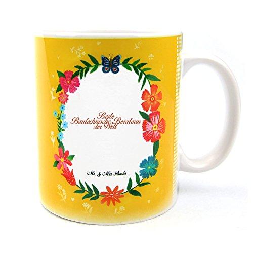 Mr. & Mrs. Panda Tasse Design Frame Happy Girls Beste Bautechnische Beraterin der Welt - Beruf Berufe Ausbildung Abschluss Berufsausbildung Geschenk Schenken Studium Diplom Bachelor Berufsschule Gratulation Danke Bedanken Dankeschön Geschenk Geschenkidee Schenken Tasse Kaffeetasse Kaffee