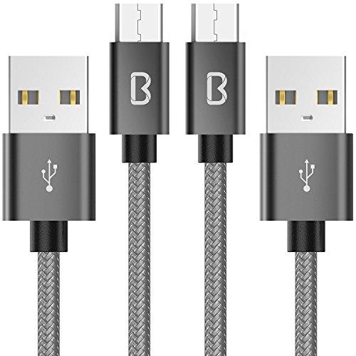 [Lot de 2] Câble Micro USB, Beikell Câble USB Nylon Tressé 2M Câble Cordon Chargeur Micro USB Rapide - GARANTIE A VIE - pour Samsung, Appareils Android, Sony, HTC, Nexus et Plus - Gris Sidéral