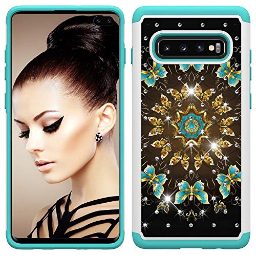 BestCatgift Galaxy S10 Plus Hülle Dual Layer 2 in 1 [Painted Pattern & Diamond][Heavy Duty] Rugged Rubber Hybrid PC+TPU Back Protective Cover Für Samsung S10 Plus/S10+ - Gold Butterfly - Funny Flower Cut-outs
