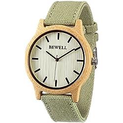 Alienwork Quarz Armbanduhr massive Naturholz Quarzuhr Uhr handgefertigt Leinwand gelb grün UM-W134A-03