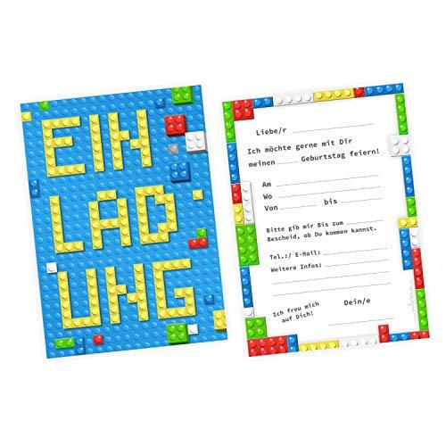 nikima Schönes für Kinder 5 Einladungskarten Bausteine Bricks Bauklötze inkl. 5 Transparenten Briefumschlägen Kindergeburtstag Junge Einladung Party Bunte Steine