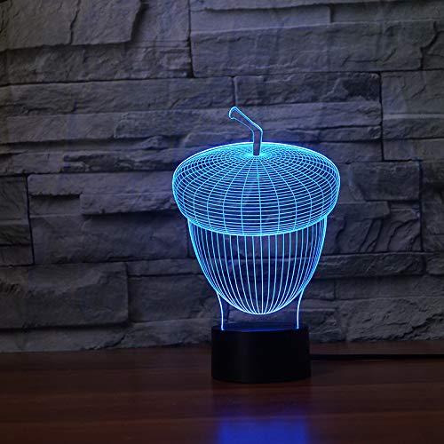 OSVD 3D Led Eichel Form Nachtlicht 7 Farben Atmosphäre Touch Button Zellstoff Eiche Tischlampe Schlafzimmer Form Dekor Neuheit Kinder Spielzeug Geschenke -