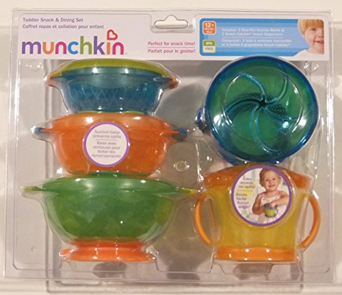 Munchkin Toddler Snack & Dining Set (3 Stay-Put Suction Bowls & 2 Snack Catcher) 51oN7SZ YQL