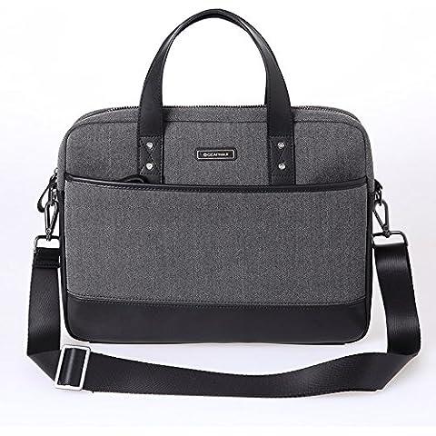 Gearmax 15.6inch britannico borsa, Tweed, & in microfibra in pelle borsa con manico e tracolla rimovibile per 15–15.6MacBook Pro/MacBook Retina/Notebook/Tablet/Ultrabook/Netbook/Chromebook