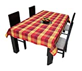 #2: Airwill Cotton Jacquard Dobby Checks with Multicolor Combos of 4/6 Seater Tablecloth, Sized 140cm Width and 140cm Length