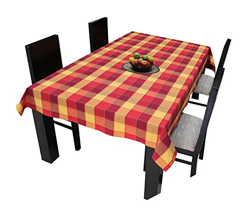 Airwill Cotton Jacquard Dobby Checks with Multicolor Combos of 4/6 Seater Tablecloth,...