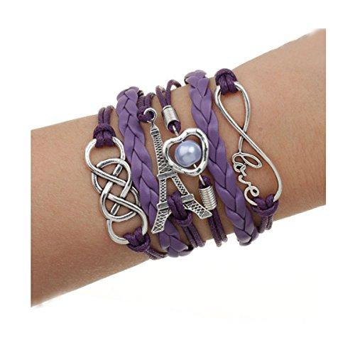 Spedito da ITALIA - Bracciale di corda regolabile TORRE EIFFEL CUORE E PERLA colore viola