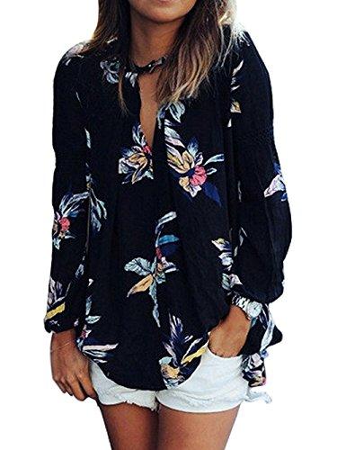 Minetom collare v comodo stile unico moda elegante donna maglie a manica lunga chiffon fiore stampato maglietta camicetta t shirt top multicolore it 42