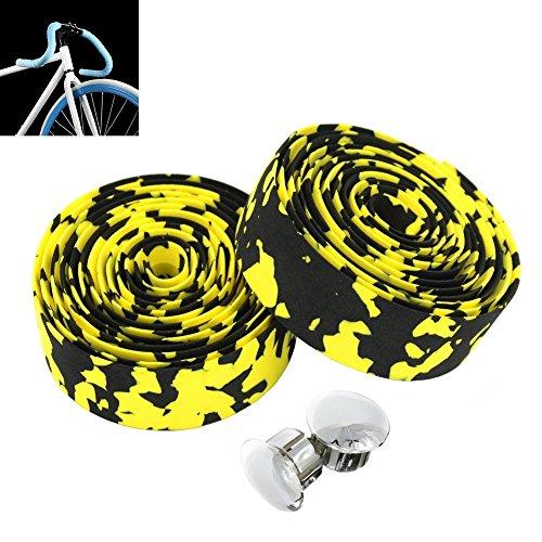 MBrisk Camouflage-Serie Fahrrad-Teile, Schaumstoff-Griffband, Rutschfester Gurt mit Stangenstopfen für Mountainbike, 2 Stück, Black+Yellow