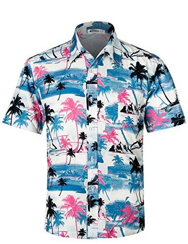 APTRO Herren Hemd Hawaiihemd Freizeit Hemd Kurzarm Urlaub Hemd Reise Shirt HW009 M -