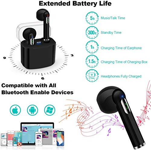 Priish® I7s Sound Wireless Bluetooth Earphone Earbud Portable Headphone Handsfree Sports Running Sweatproof Compatible IOS Android Smartphone Active Noise Cancellation & Charging Case (Black/White) Image 7
