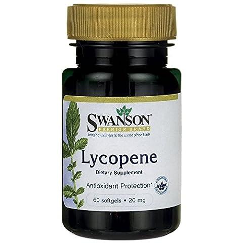 Swanson - Lycopène 20mg, 60 gélules - Puissant Caroténoïde Antioxydant - Santé Cardiovasculaires, Coeur & Prostate - Complément Alimentaire Bio-Actif (Lycopene softgels capsules Supplement)