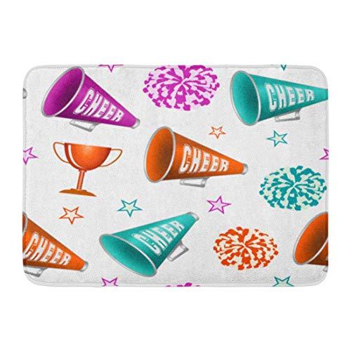 Badteppiche Outdoor/Indoor Fußmatte Pink Pom Cheerleading Pompoms Cup Sterne und Megaphone Cheerleader Cheer Badezimmer Dekor Teppich Badematte ()