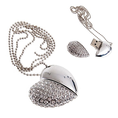 4/8/16/32GB USB Flash Drive Halskette-Jeweled Metall Herz USB Memory Stick Anhänger-ideal Weihnachtsgeschenk Silber 16 GB