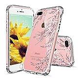 MOSNOVO iPhone 8 Plus Hülle, iPhone 7 Plus Hülle, Blossom Blühen Blumen Flower Muster TPU Bumper mit Hart Plastik Hü