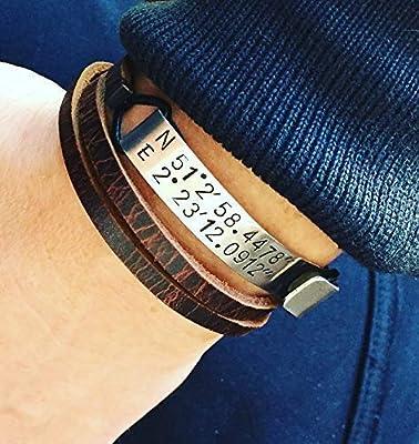 Bracelet homme en cuir, personnalisé. Coordonnées GPS de rencontre. Cadeau pour homme. Bracelet gravé.