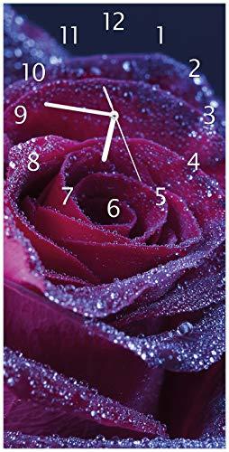 Wallario Design Wanduhr Rote Rosenblüte im Regen aus Acrylglas, Größe 30 x 60 cm