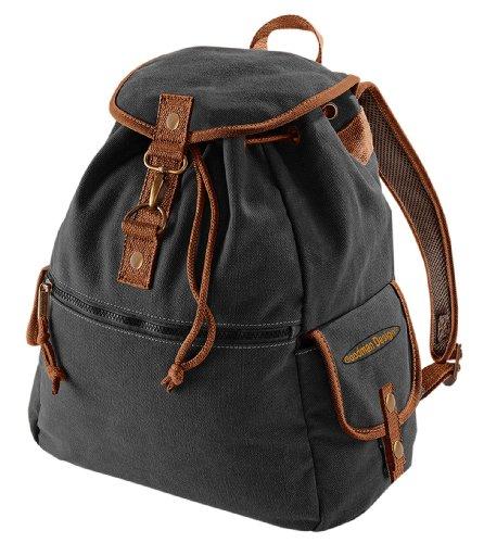 Vintage Style Rucksack Canvas Backback 18 Liter mit Goodman Design ® Logo Farbe: vintage-schwarz