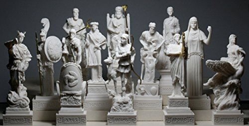 12-er Set Figuren, griechische Olympische Götter, Pantheon, Alabaster -