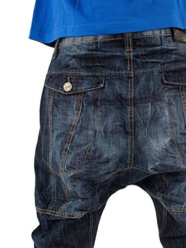 streetwear premium Extra tiefer Schritt Karotten Jeans Blau Denim