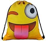 """mygoodtime Turnbeutel Gymbag Sporttasche """"Emoji"""" gelb, Emoticon grinst Smiley 37x32cm mit Kordel + Einkaufswagen-Chip gratis"""