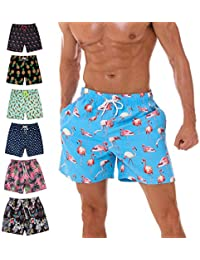 2e50c5a004 KeeCow Mens Swim Shorts Mesh Lining Waterproof Beach Surf Shorts Quick Dry  Swimwear with Pockets Summer