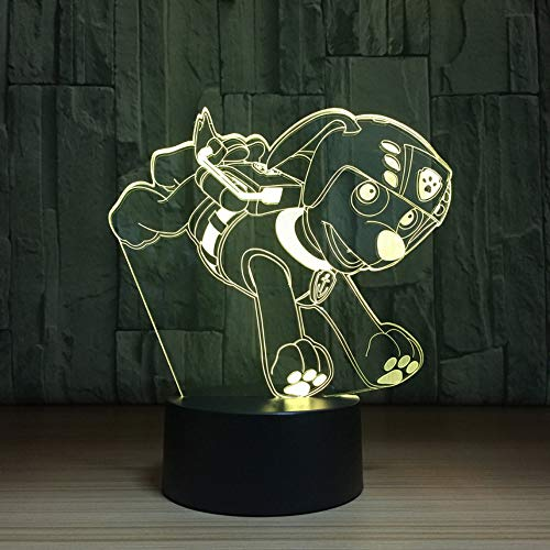 Cute Cartoon Puppy Dog Action Figure Night Light Cambiare colore Cartoon Anime Sleep Lamp Kids Birthday Atmosfera Lampada Toy Gift