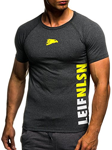 LEIF NELSON GYM Herren Fitness T-Shirt Trainingsshirt Training LN06279; Grš§e L, Anthrazit-Gelb