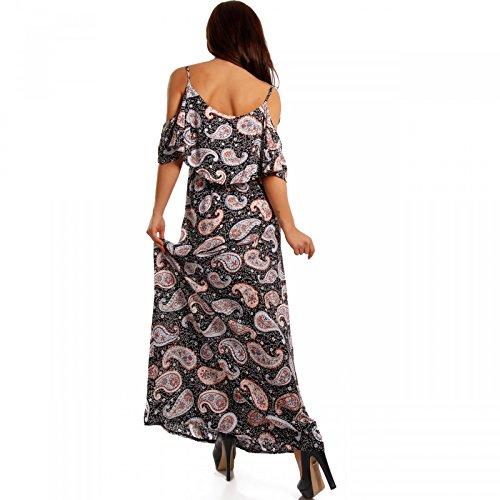 Damen Maxikleid Bodenlang Strandkleid Carmen-Ausschnitt mit Volant Mehrfarbig/Model3