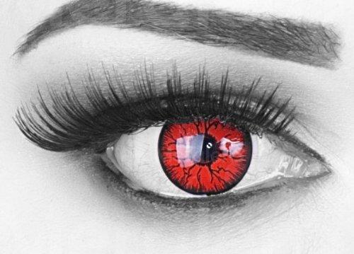 ige rote schwarze Crazy Fun Metatron Jahres Kontaktlinsen.Topqualität zu Fasching und Karneval mit gratis Kontaktlinsenbehälter ohne Stärke! (Black N White Halloween-make-up)