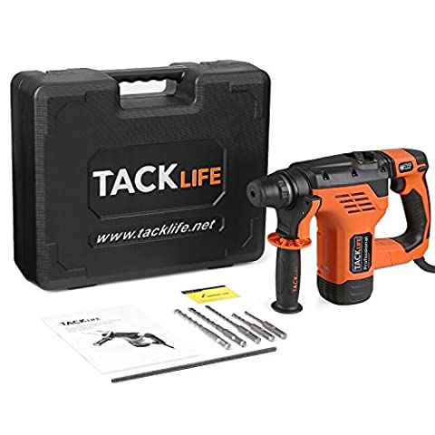 Tacklife RHN30AC Professional Impact Drill AC 850W SDS Plus Rotary Hammer with Function of Hammer Drill, Drill, Chisel & Adjustment Direction Including 5 Drill Bits and Carrying Case