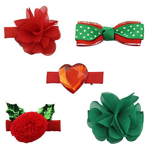 QtGirl 4-8 Stück Gemischt Weihnachten Bogen Haarclips für Mädchen Baby Teens Festival Haar Zubehör Spangen (Bögen Für Haar-für Teens)