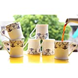 Femora Bone China Blue Floral Border Microwave Safe Tea Cup Coffee Mug For Office & Home, Set Of 6, 210ml- 1 Year Warranty