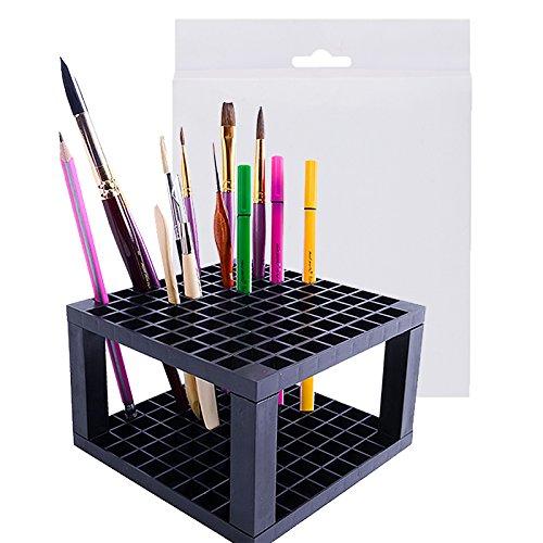 Ennello holder, pennello e matita baktoons multi bin organizer da scrivania supporto organizer per disegno pennarelli pennelli trucco penne piccoli utensili 96 fori black