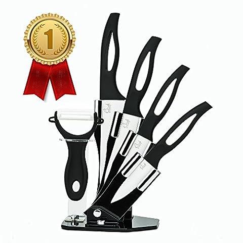 ChefsDeFrance - Couteaux Céramique Haut de Gamme - Set Complet 4 Couteaux + économe - OFFRE LIMITEE : E-book de recettes offert pour toute commande - Lame Blanche en Céramique - Manche noir
