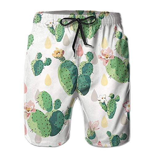 IconSymbol Cactus Mens Cargo Beach Shorts Quick Dry Woven Pull-On Watershorts with Pockets for Man -