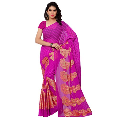 GL Sarees Casual Plain Solid Rani Oink Jacquard Butta Work Saree For Women