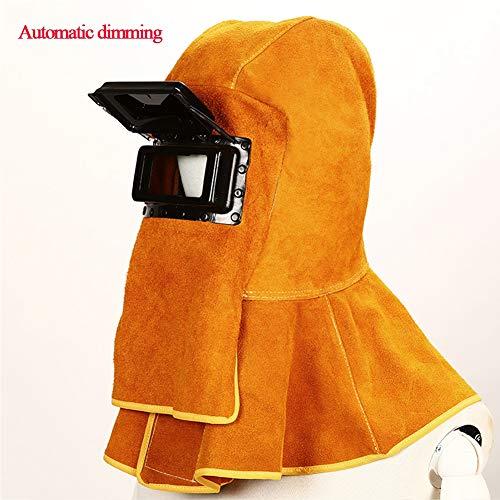 LAIABOR Automatik Schweißhelm vollautomatisch abdunkelnd Ledermaske Durable Gute Qualität mit Uv-Schutz gegen Funken, Strahlungen für Mig Tig Arc Schleifen Schweißer Maske,Gelb
