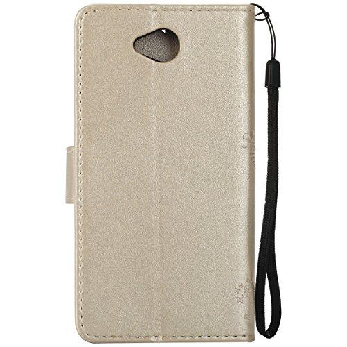 Custodia Microsoft Lumia 650 ISAKEN Cover Nokia N650 con Strap, Elegante borsa Farfalla Design in Pelle Sintetica Ecopelle PU Case Cover Protettiva Flip Portafoglio Case Cover Protezione Caso con Supp Albero: gold
