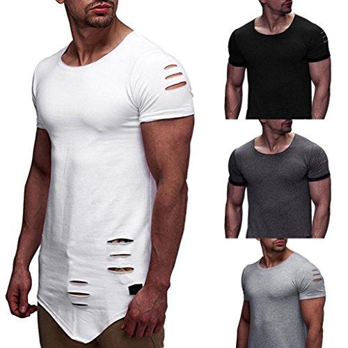 LuckyGirls Camisetas Hombre Originales Rotos Irregular Diseñar Verano  Personalidad Casual Remera Slim Polos Moda Manga Cortos 2229f491038f0