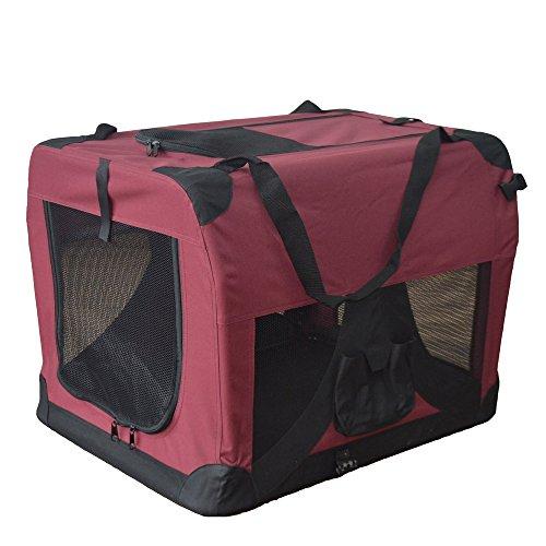 Hundetransportbox Hundebox faltbar Transportbox Autotransportbox Faltbox Transportasche 601-D02 Farbe: marrone, Grösse: XL - 81cm x 58cm x 58cm