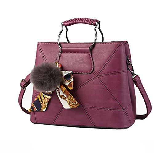 Frauen Mode Geometrie Bogen Crossbody Top-Griff Schultertasche Tote Handtaschen Multicolor Purple