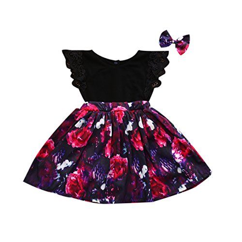 WangsCanis Familie Blume Schwarz Kleidung Baby Mädchen Kleine Schwester Strampler Große Schwester Kleid (110/4-5Jahre alt, Große Schwester Kleid) -
