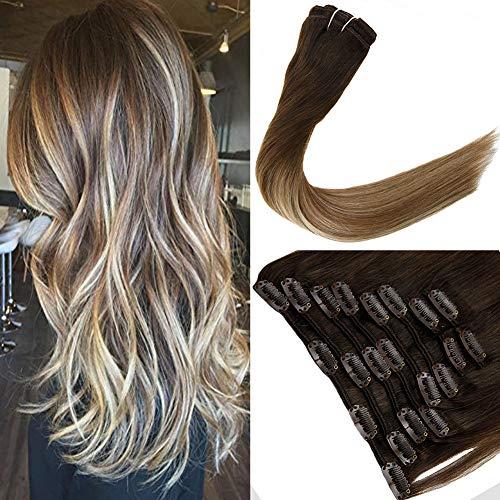 LaaVoo 16 Pouces 10Pcs/120g Tete Entiere Clip in Extensions Hair Balayage Ombre Brun Fonce a Brun Moyen avec Blond Clair Extensions Cheveux Clips Bresilien Naturel Lisse#3/6/24