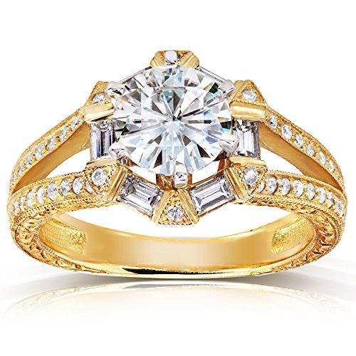 Kobelli Moissanite  -  14 Kt  Gelbgold Rundschliff Baguetteschliff   G-H Diamant Moissanite  (S2-diamant-ring)