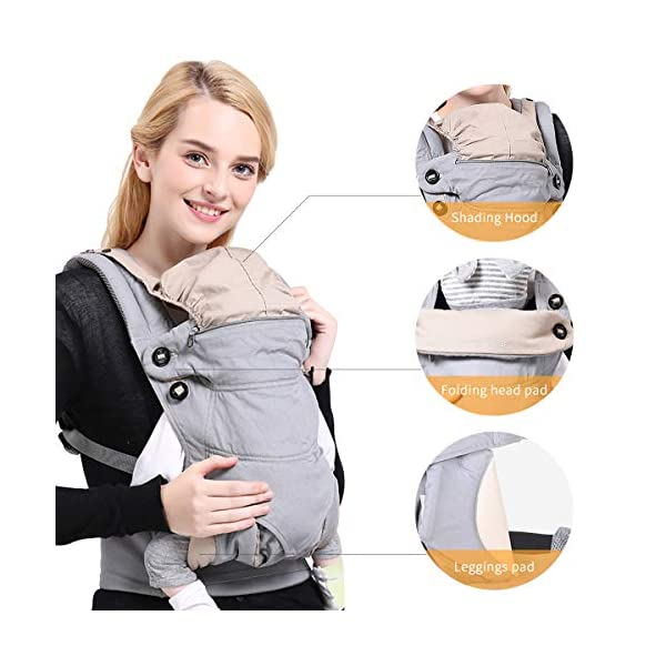 SONARIN 4-in-1 Convertible Baby Carrier,Sunscreen Hood,Ergonomic,for Newborn to Toddler(3-48 Months),Maximum Load 20kg,Front Facing Baby Carrier,Child Carrier Backpack(Green) SONARIN Applicable age and Weight:3-48months of baby, the maximum load:20KG, and adjustable the waist size can be up to 47.2 inches (about 120 cm). Material:designers carefully selected soft and delicate 100% Cotton fabric.Soft machine wash,do not fade,ensure the comfort and breathability,high strength,safe and no deformation,to the baby comfortable and safe experience. Description:Patented design of the auxiliary spine micro-C structure and leg opening design,natural M-type sitting.Adjustable back panel that grows with baby and offers head and neck support with sleeping hood that provides UV50+ sun protection. 4
